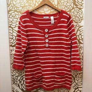 ✨ Liz Co Orange White Stripe Sweater Button Front